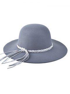 Braided Band Floppy Hat - Gray