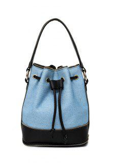 Drawstring Denim Splicing Crossbody Bag - Blue