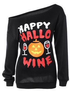 Skew Collar Pumpkin Print Halloween Sweatshirt - Black S