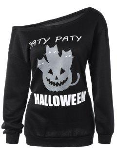 Halloween Mask Print One-Shoulder Sweatshirt - Black S