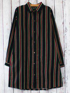 Striped Long Sleeves Shirt Dress - Red With Black