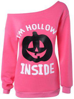 Halloween Pumpkin Imprimer Une épaule Sweatshirt - Eau Rouge Xl