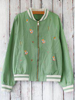 Zipped Embroidered Baseball Jacket - Green