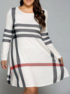 Plus Size Long Sleeve Flowy Tee Dress - Off-white 4xl