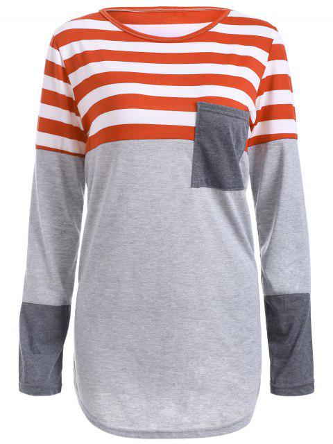 Gestreiftes Tunika T-Shirt mit Tasche - Orangerot L Mobile