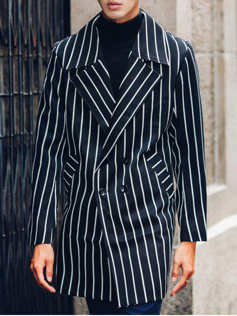 fancy Side Pocket Lapel Double Breasted Striped Coat - BLACK M Mobile