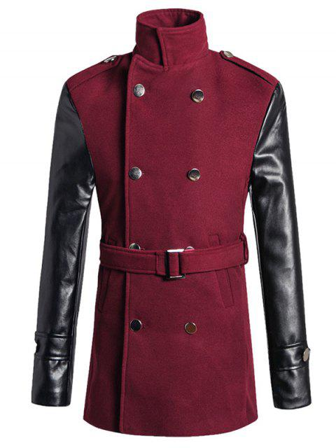 fashion Stand Collar PU Spliced Wool Blend Trench Coat - WINE RED M Mobile