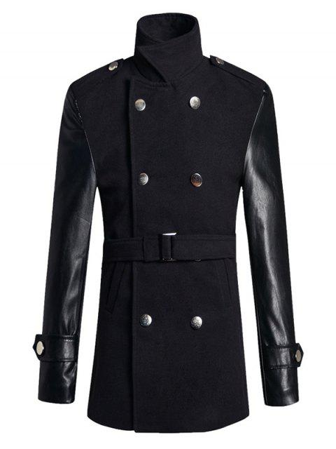 sale Stand Collar PU Spliced Wool Blend Trench Coat - BLACK 2XL Mobile