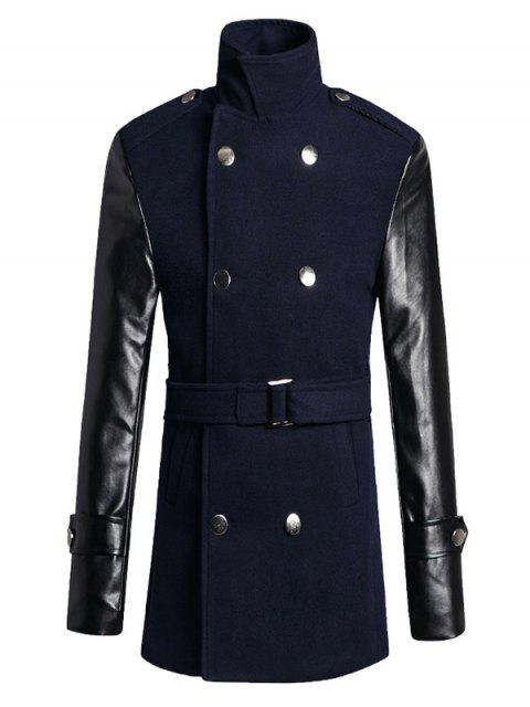 ladies Stand Collar PU Spliced Wool Blend Trench Coat - CADETBLUE L Mobile