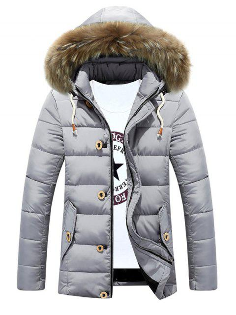 women's Detachable Furry Hood Zip Up Padded Coat - SILVER M Mobile