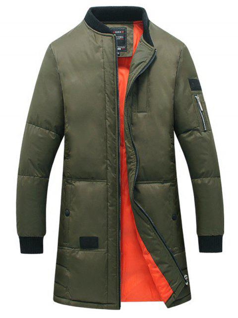 buy Breast Pocket Rib Cuff Zippered Quilted Coat - ARMY GREEN 5XL Mobile