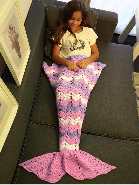 lady Knitting Openwork Mermaid Blanket - PINK  Mobile