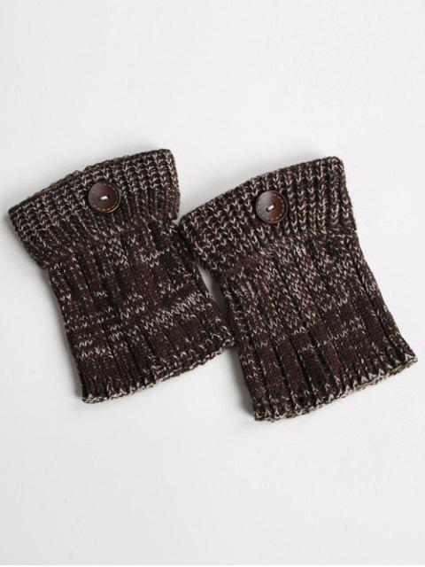 womens Buttons Yoga Knit Boot Cuffs - DARK COFFEE  Mobile
