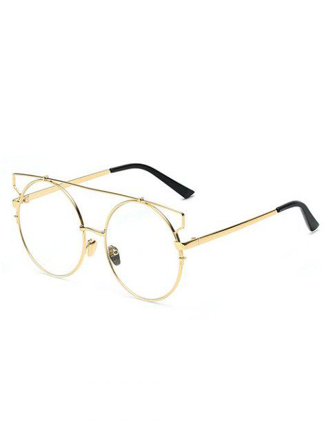 fancy Crossbar Transparent Lens Round Sunglasses - GOLDEN  Mobile