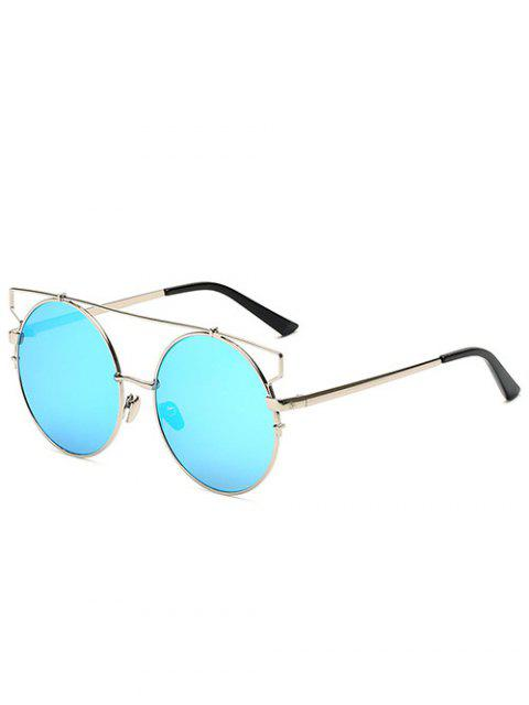 affordable Crossbar Round Mirrored Sunglasses - ICE BLUE  Mobile