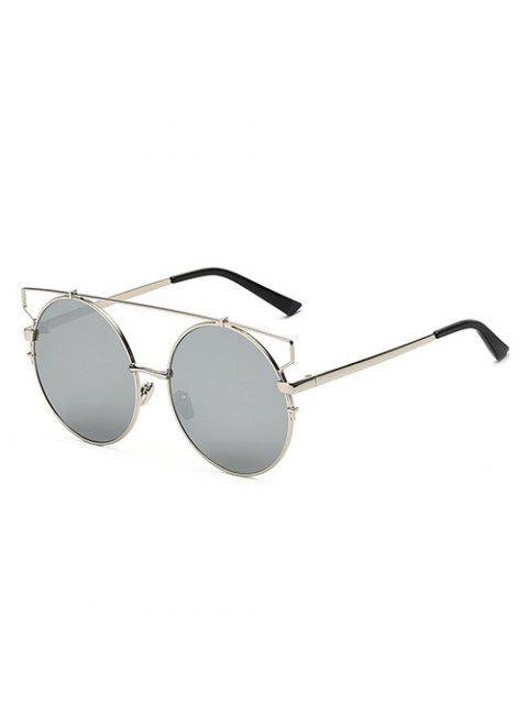 buy Crossbar Round Mirrored Sunglasses - SILVER  Mobile