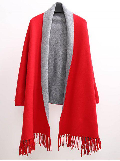 trendy Tassel Lapel Sleeved Cape Pashmina -   Mobile
