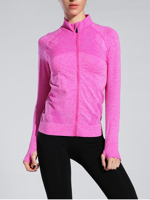 lady Glove Sleeve Sports Jacket - ROSE RED M Mobile