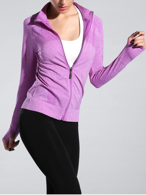 online Glove Sleeve Sports Jacket - LIGHT PURPLE M Mobile