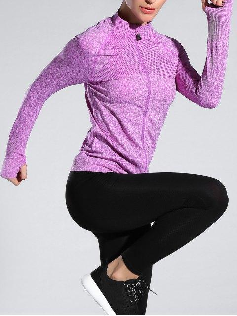 online Glove Sleeve Sports Jacket - LIGHT PURPLE M Mobile