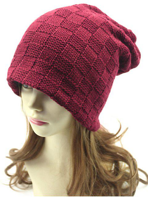 ladies Plaid Weaving Double-Deck Knit Beanie - WINE RED  Mobile