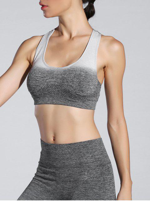 buy Ombre Padded Sports Bra - GRAY L Mobile