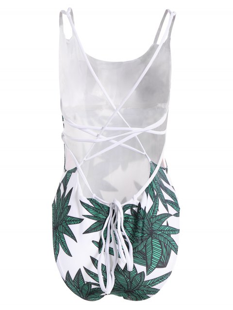 fancy Leaf Print One-Piece Swimsuit - WHITE AND GREEN S Mobile