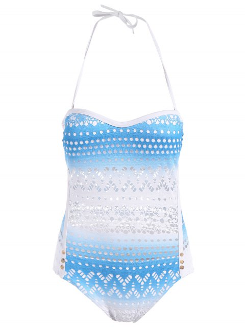 trendy Cut Work One-Piece Swimsuit - AZURE 2XL Mobile