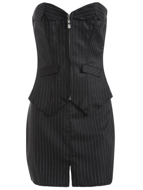 unique Striped Lace Up Three Piece Corset - BLACK 5XL Mobile