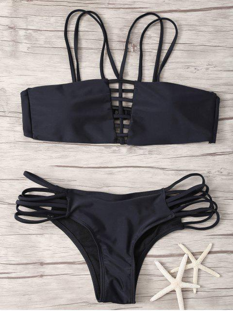 Lattice Strap Bandeau Bikini - Noir S Mobile