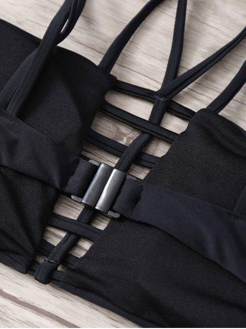 ladies Lattice Strappy Bandeau Bathing Suit - BLACK L Mobile
