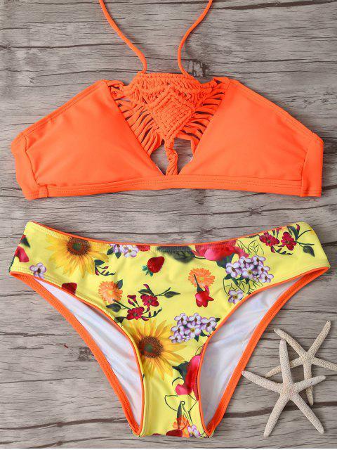shops Printed Macrame Halter Bikini - JACINTH M Mobile