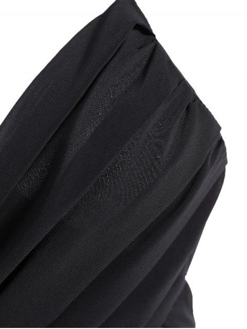best Backless A-Line Strappy Midi Dress - BLACK L Mobile