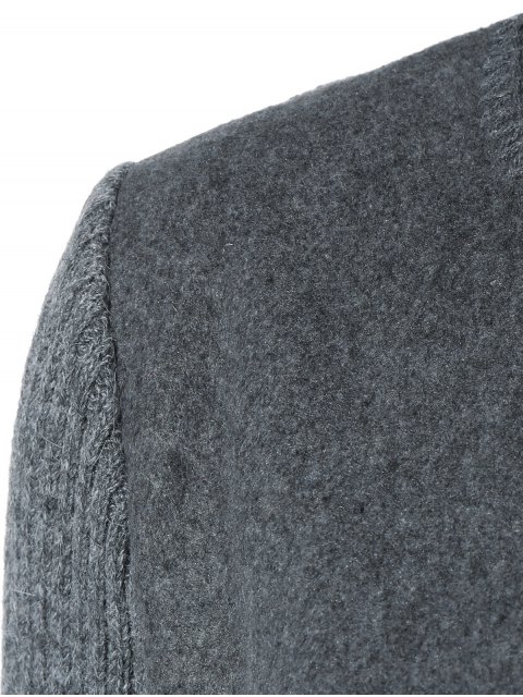 unique Knitted Sleeve Spliced Round Neck Coat - DEEP GRAY XL Mobile