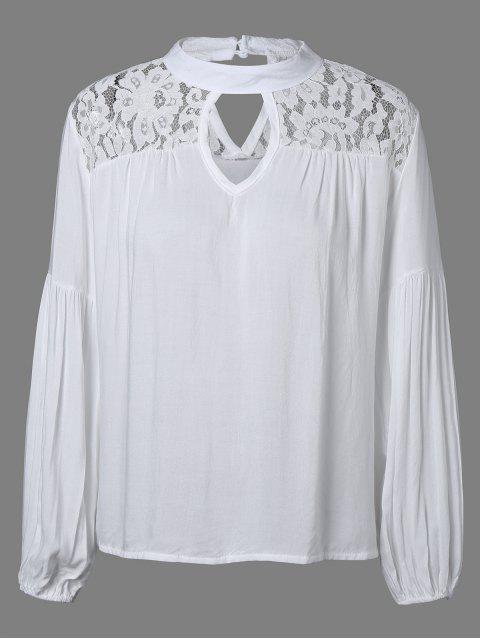 women Lace Yoke Puffed Sleeve Top - WHITE L Mobile