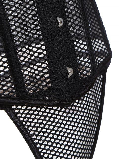 women Lace Up Hollow Out Corset - BLACK M Mobile