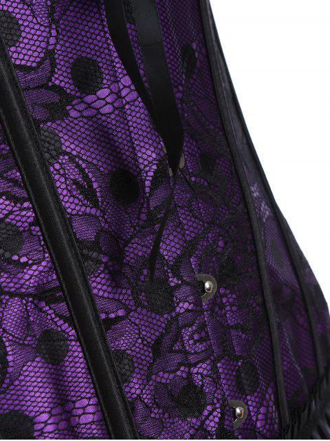 latest Steel Boned Sweetheart Neck Lace Corset - PURPLE L Mobile