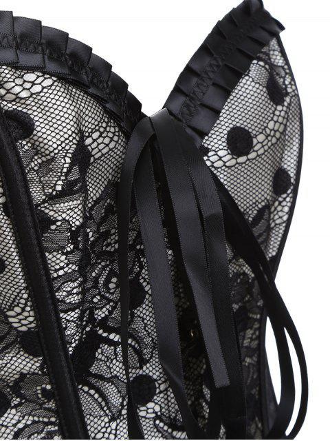 fancy Steel Boned Sweetheart Neck Lace Corset - BLACK L Mobile