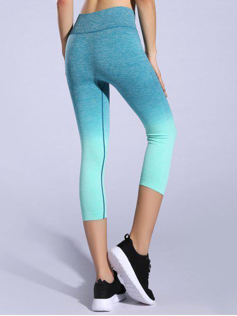 chic Ombre Color Capri Leggings - LIGHT GREEN M Mobile