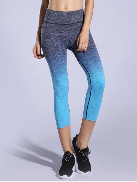 unique Ombre Color Capri Leggings - LAKE BLUE M Mobile