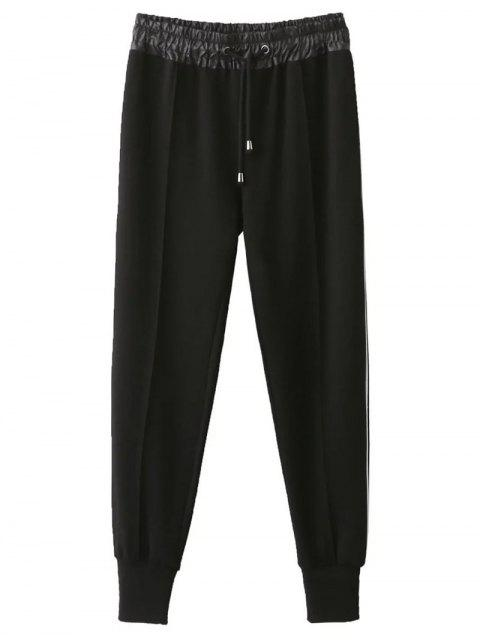 Drawstring Relaxed Jogging Pants - Noir L Mobile