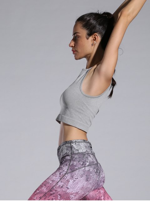 womens Sporty Cropped Tank Top - GRAY M Mobile