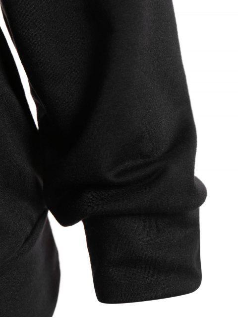 Asymétrique Décolleté heureux Sweatshirt Halloween - Noir XL Mobile