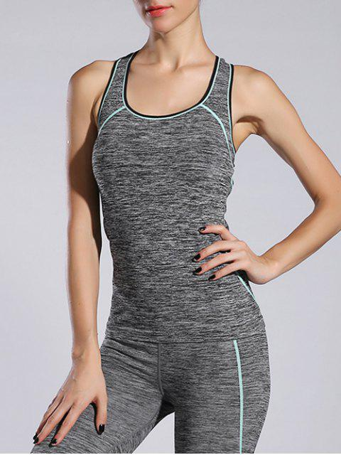 women's Space-Dyed Sports Running Tank Top - LIGHT BLUE M Mobile