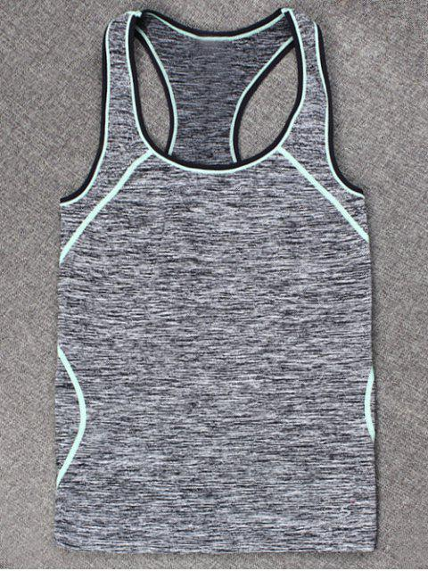 women Space-Dyed Sports Running Tank Top - LIGHT BLUE L Mobile