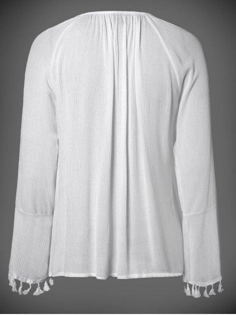 best V Neck Flare Sleeve Fringe Blouse - WHITE M Mobile
