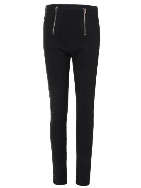 hot Zipper Embellished Pencil Pants - BLACK M Mobile