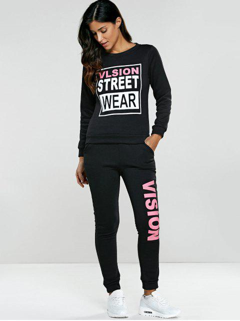 women's Letter Graphic Sweatshirt and Sweatpants -   Mobile