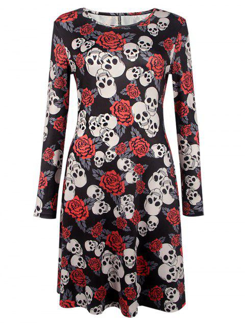 women Halloween Skull Print Long Sleeve Dress - BLACK M Mobile