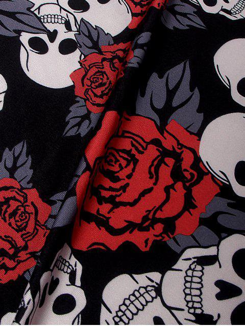 buy Halloween Skull Print Long Sleeve Dress - BLACK XL Mobile